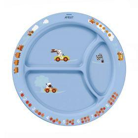 Тарелка с разделителями для порций (от 12мес.) SCF702/01 65616 голубая